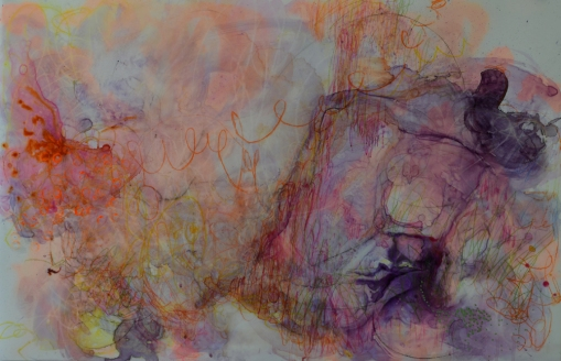 Pulled, 2015 Acrylic, watercolor, ink and pencils on Yupo 26 x 40 inches